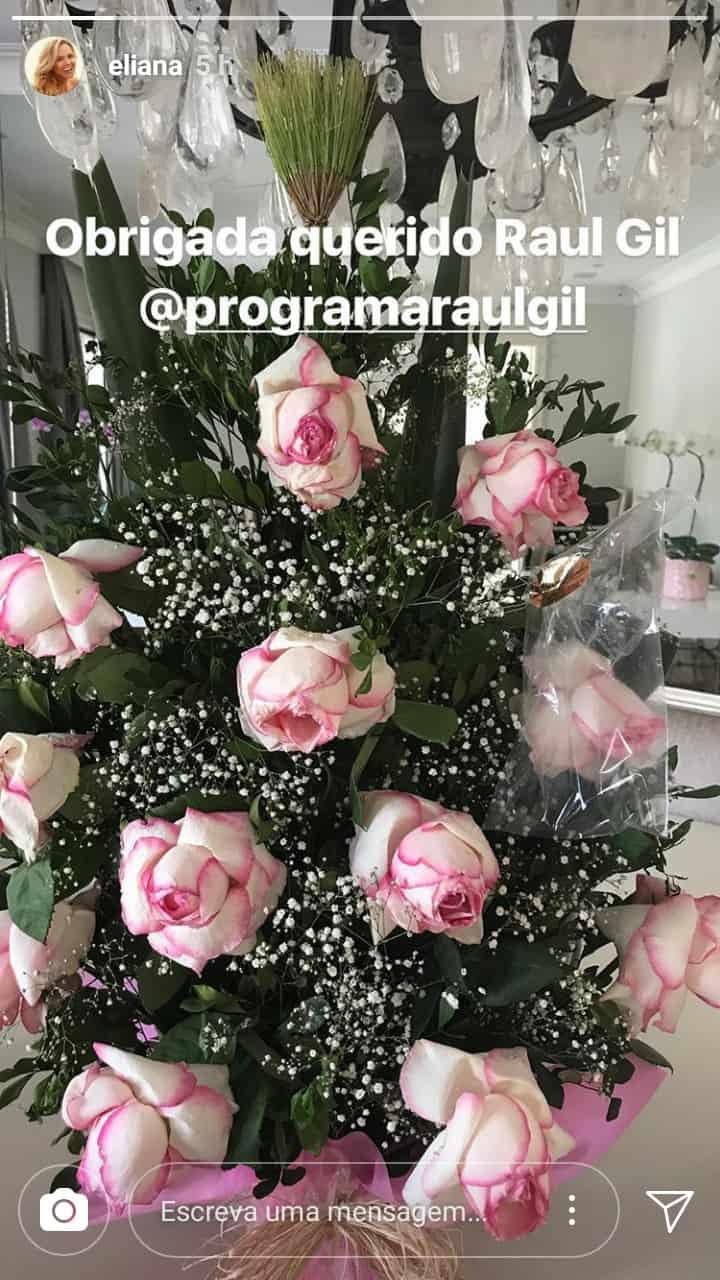 Flores que Raul Gil mandou para Eliana