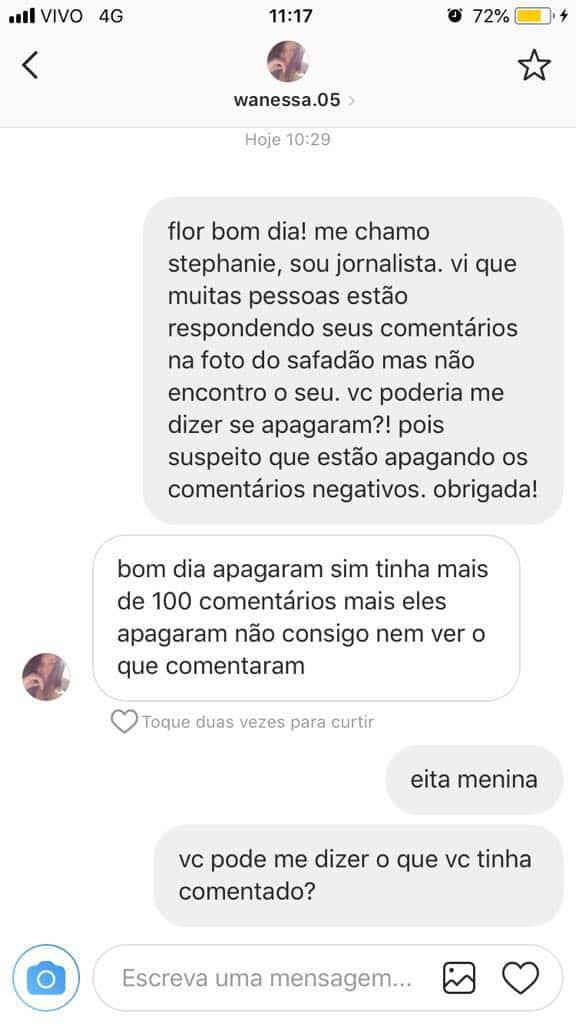 Mensagens do Instagram