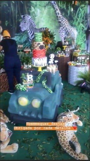 A atriz Aline Dias publicou mais essa imagem da festa de seu filho Bernardo