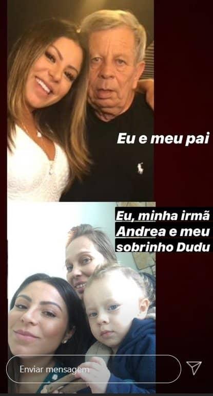 Andressa Ferreira ao lado do pai, da irmã e do sobrinho