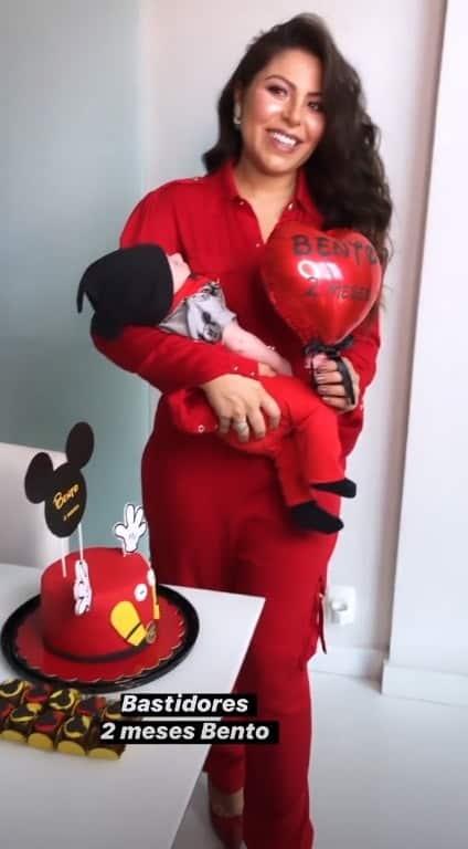 Andressa Ferreira comemorando os dois meses de seu filho