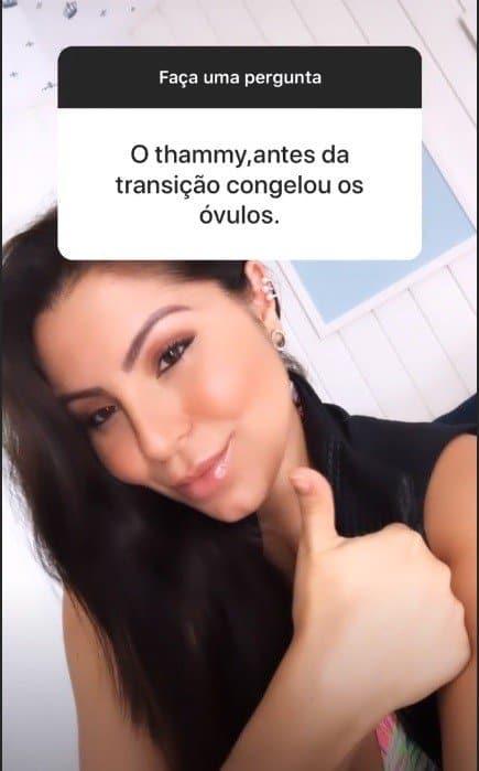 Andressa Ferreira falando que Thammy congelou óvulos
