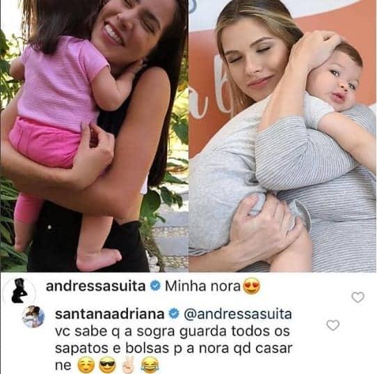 Uma brincadeira entre as mamães Andressa Suita e Adriana Sant´Anna sobre o namoro de seus filhos