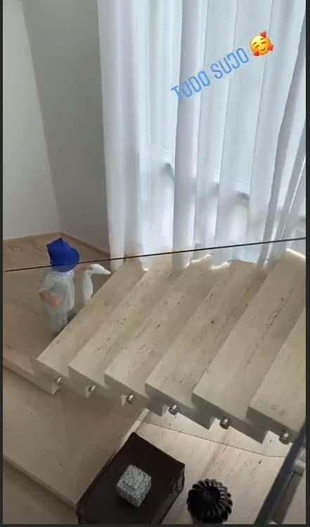 Gabriel subindo sozinho as escadas da mansão