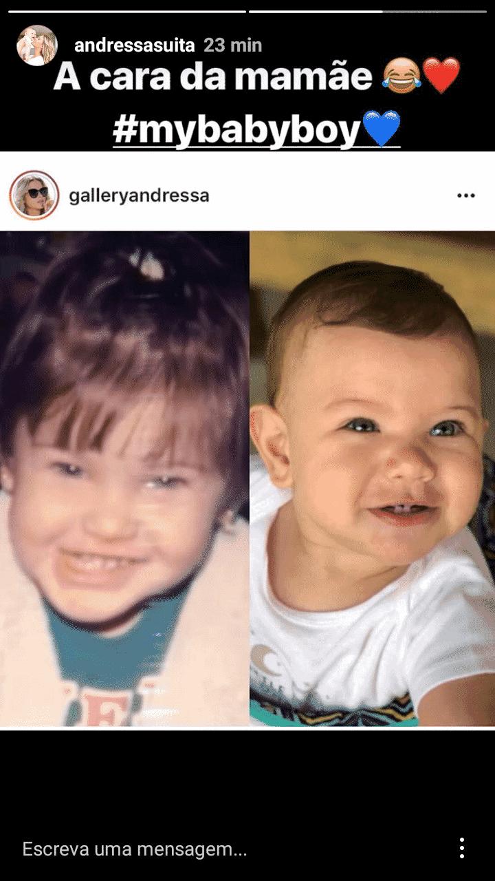 Andressa Suita tem um filho que é sua cara