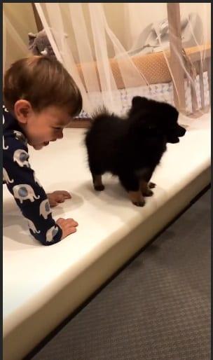 Gabriel com a cachorrinha que ganhou dos pais