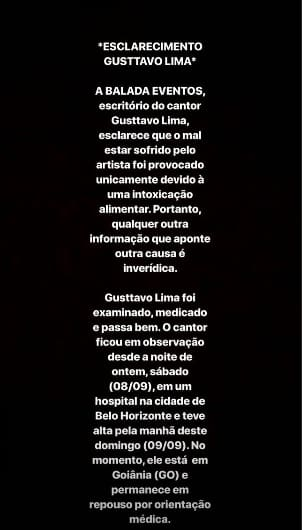 Andressa Suita publicou um comunicado sobre o estado de saúde do canto Gusttavo Lima