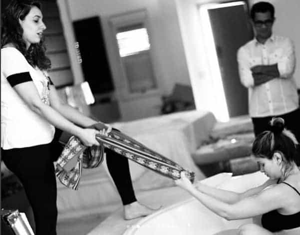 Durante o parto Andressa Suita teve muita ajuda