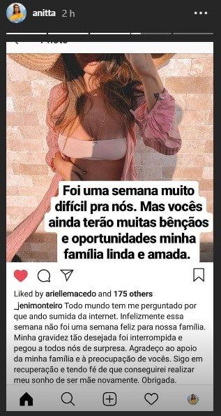 Após a cunhada perder seu bebê Anitta fez esse desabafo