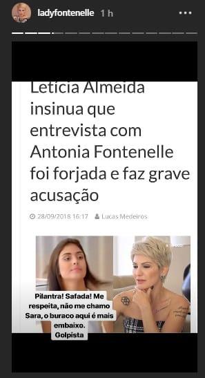 Esse foi o post de Antônia Fontenelle sobre a atriz Letícia Almeida