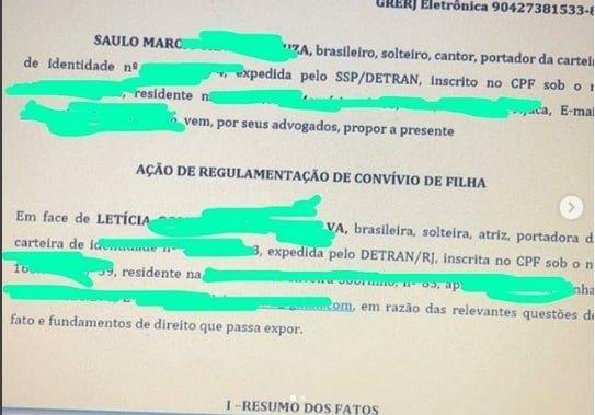 Saulo Poncio publico a ação que tem contra a atriz Letícia Almeida
