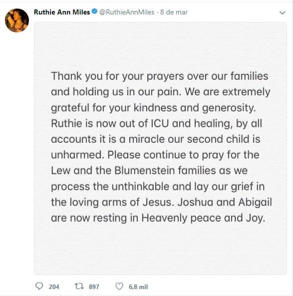 A atriz Ruthie Ann Miles fez essa postagem na sua rede social