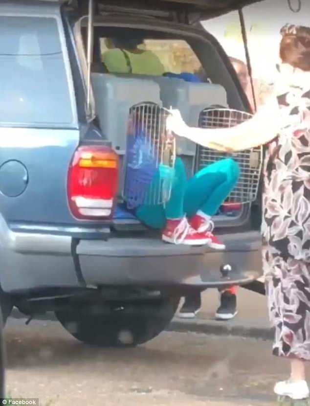 Outra imagem mostrando a avó abrindo a gaiola de cachorro com a neta dentro