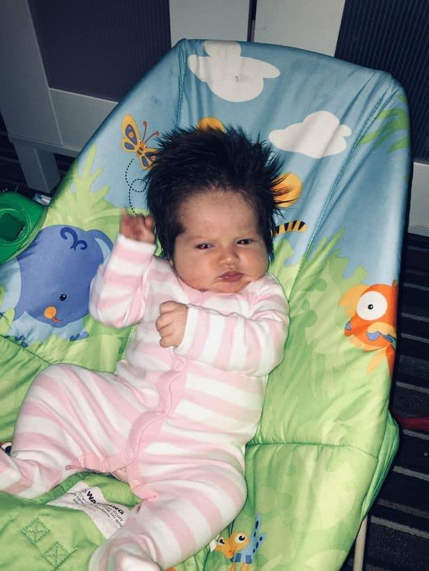 A bebê pouco tempo depois de nascer