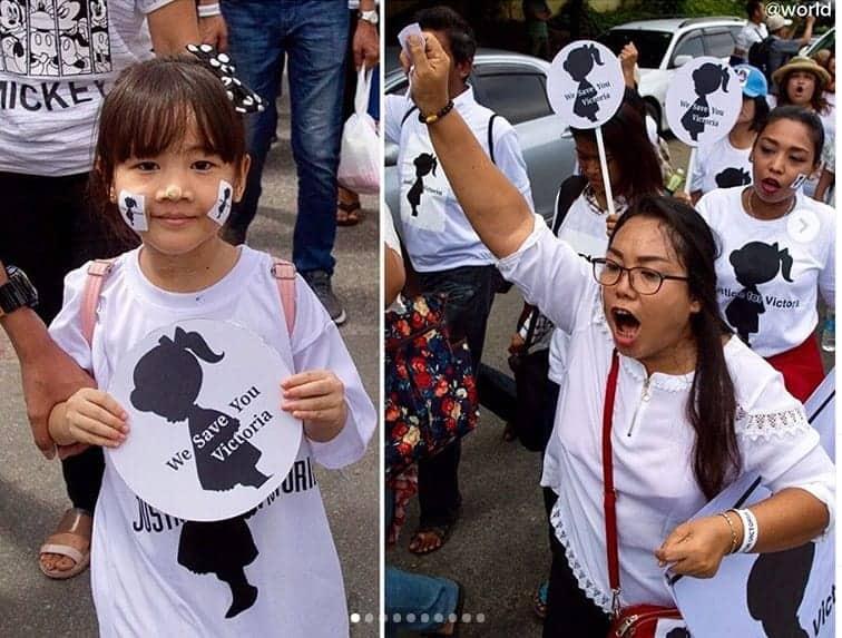 Parte da população no protesto que pediu justiça para a bebê
