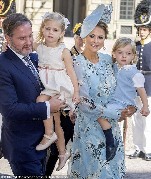 Imagem do marido e dos outros dois filhos da Princesa Madeliene