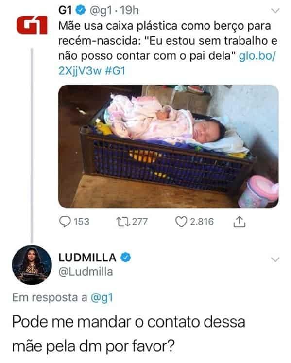 O post sobre a bebê que comoveu Ludmilla