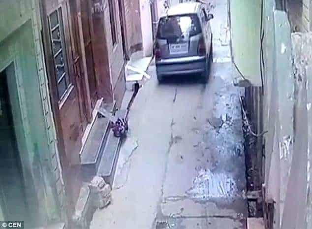 A mulher deixando a recém-nascida em frente a porta de uma casa