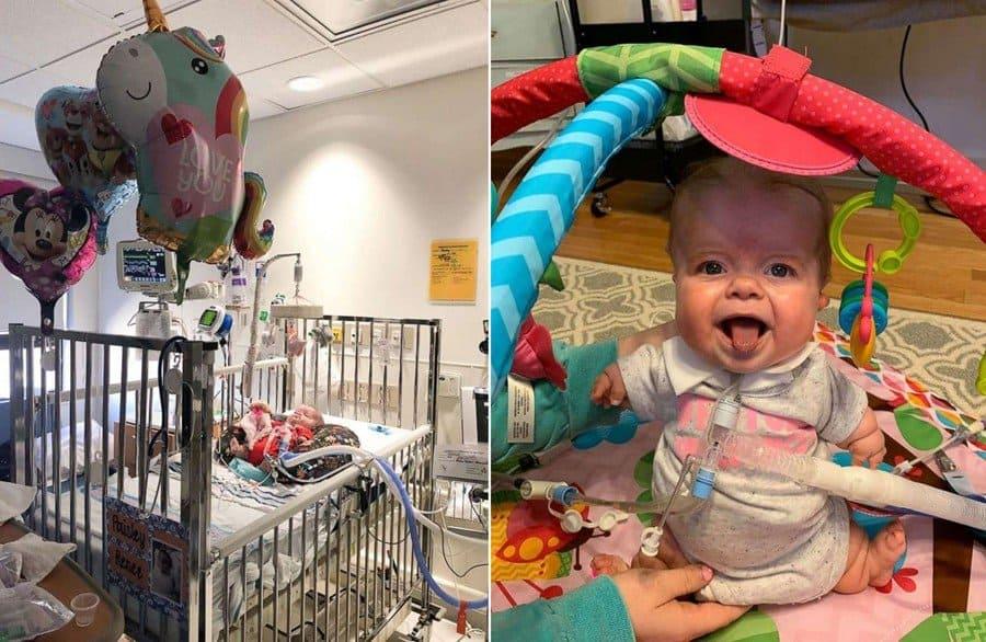 Após 6 meses no hospital, a bebê finalmente foi para a casa