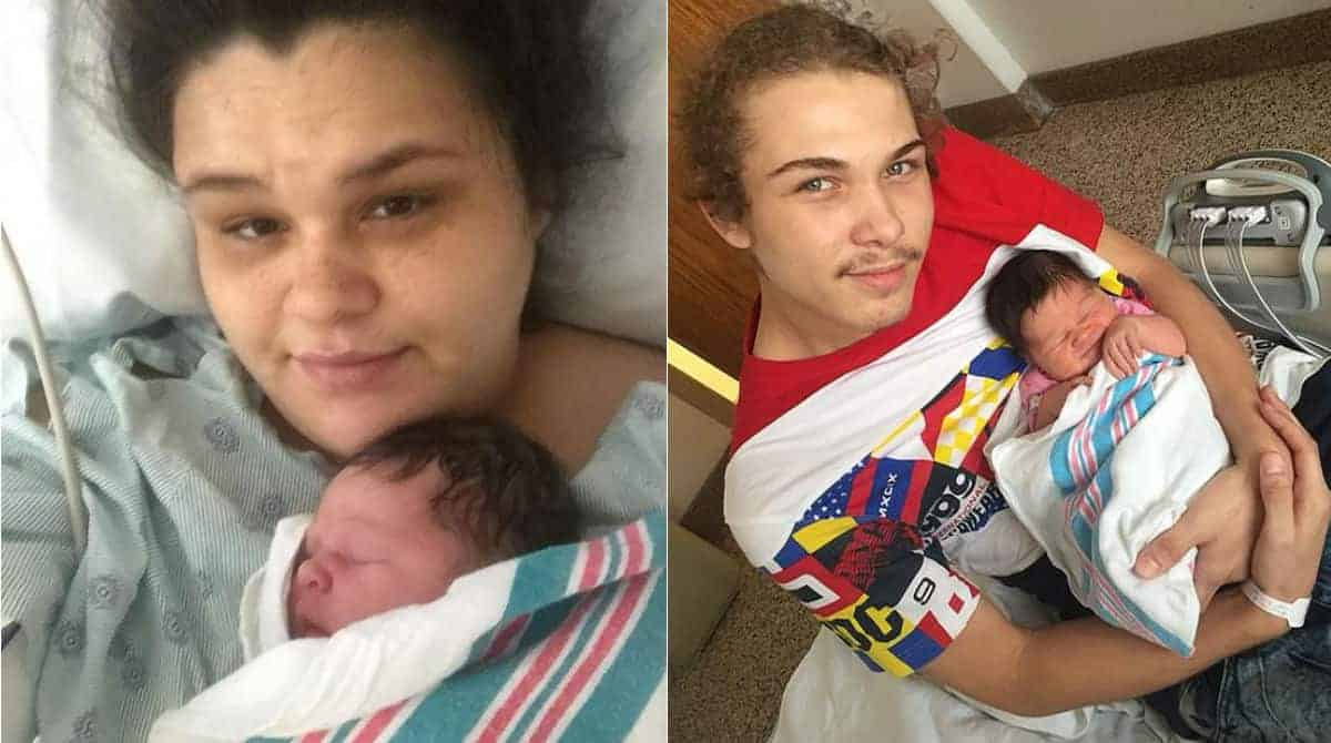 Bebê com os pais que a agrediram