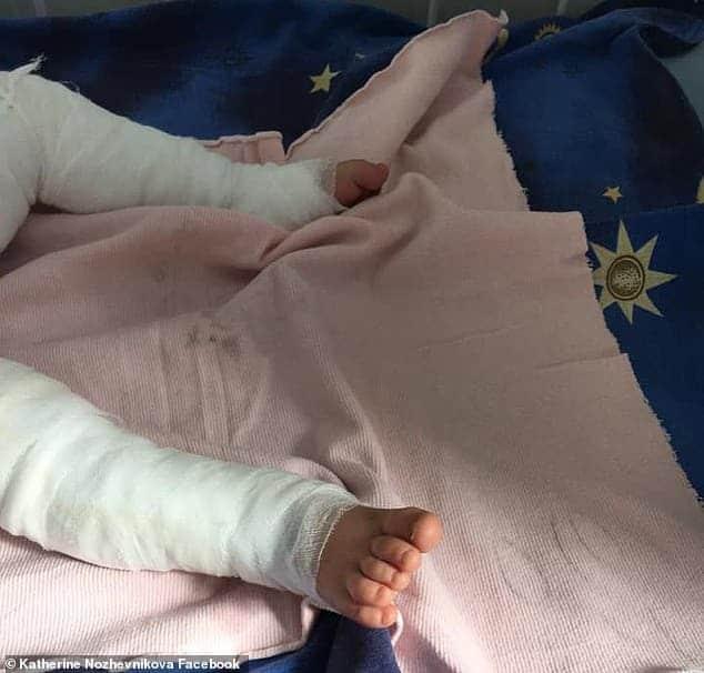 O bebê Daniil no hospital