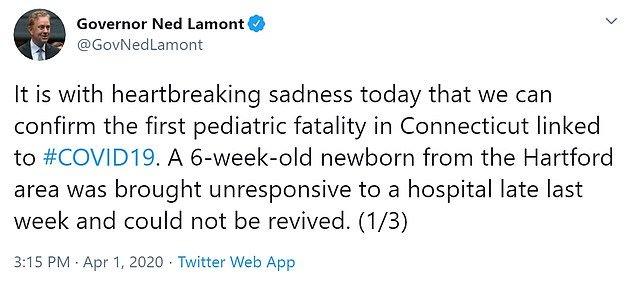 Relato do governador sobre o bebê vítima do coronavírus