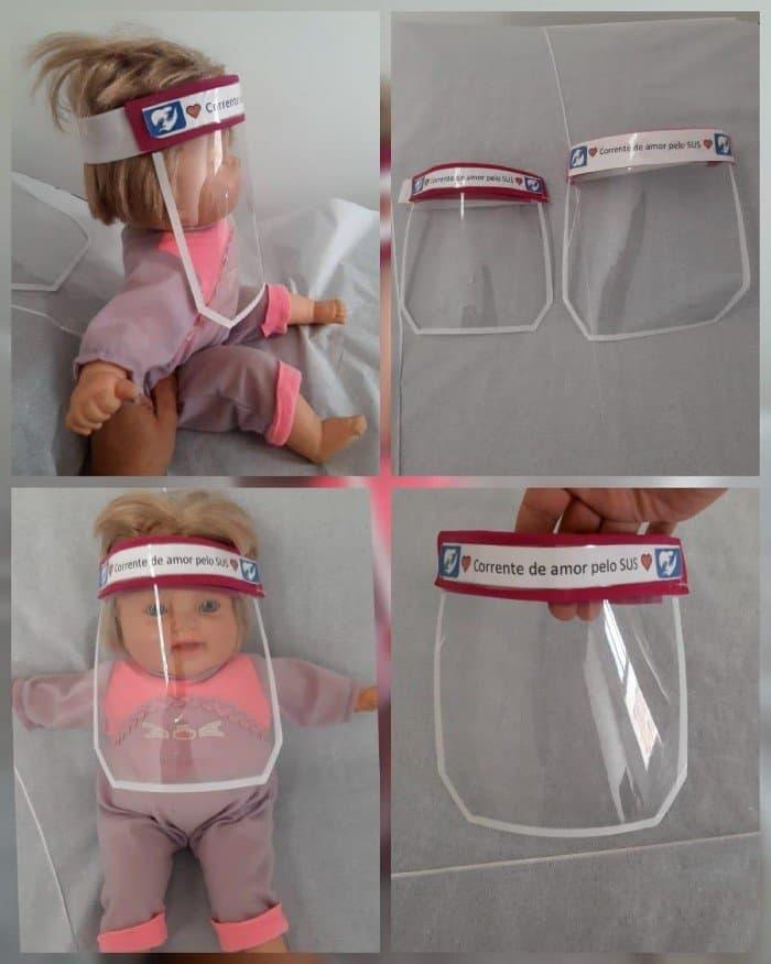 Escudo facial pra proteção dos bebês