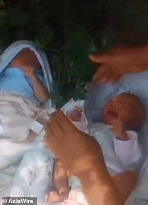 Os bebês gêmeos após terem sido achados