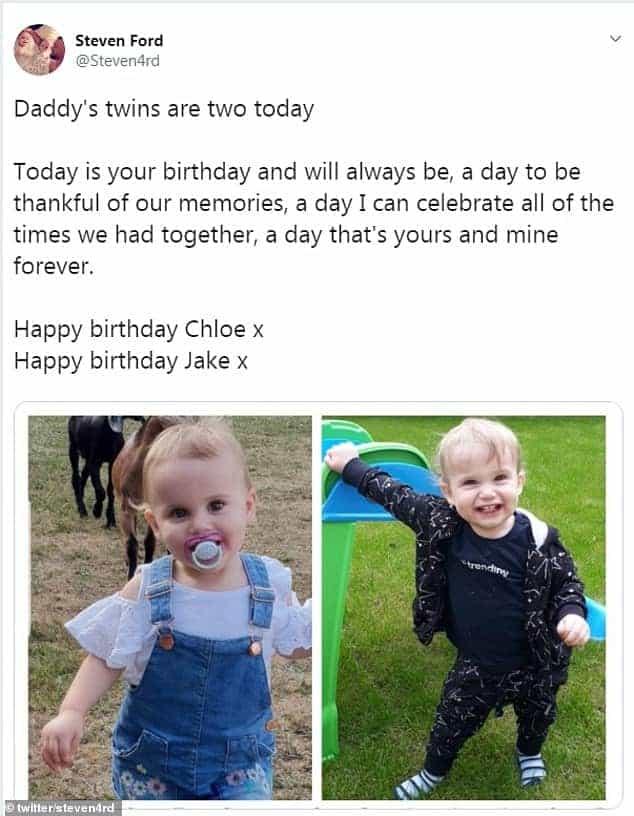 Post feito pelo pai dos bebês mortos