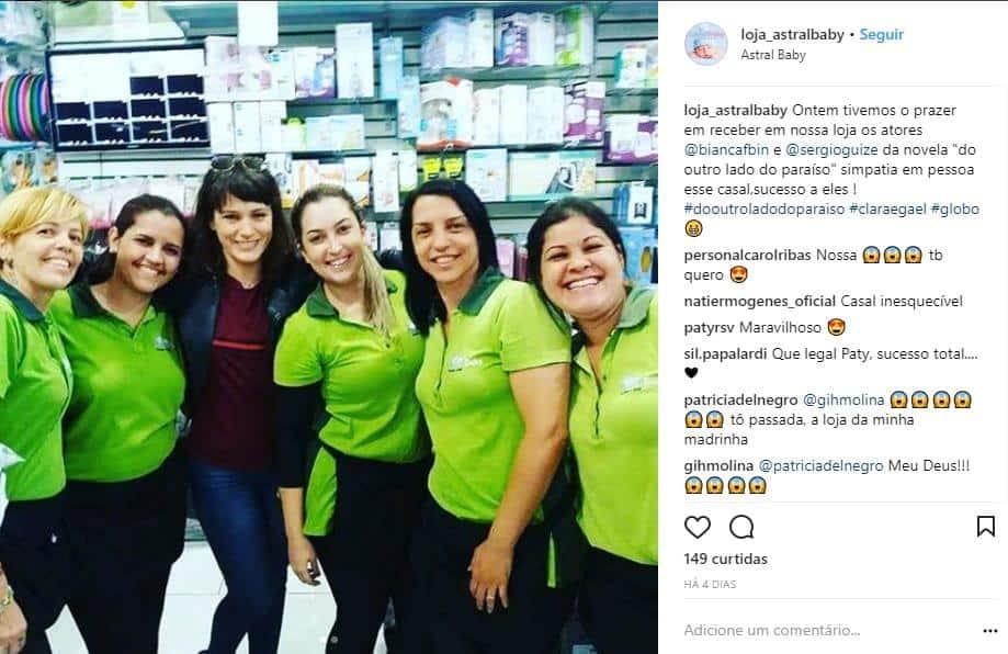 Bianca Bin e Sérgio Guizé foram comprar produtos para bebês