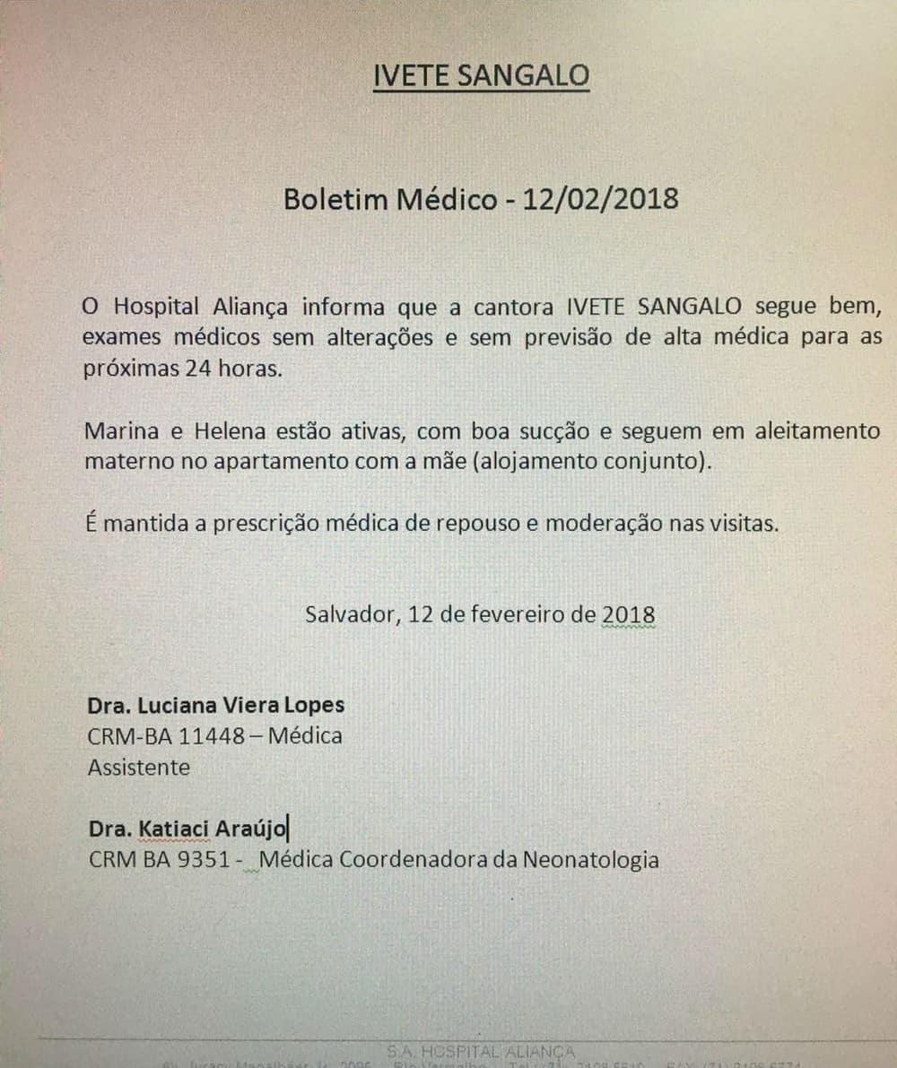 Boletim médico da cantora Ivete Sangalo