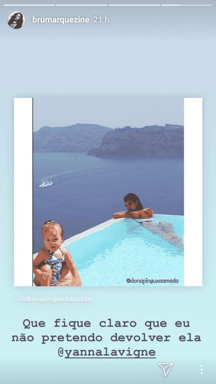 Bruno Gissoni e Yanna Lavigne fazem montagem da filha com Bruna Marquezine