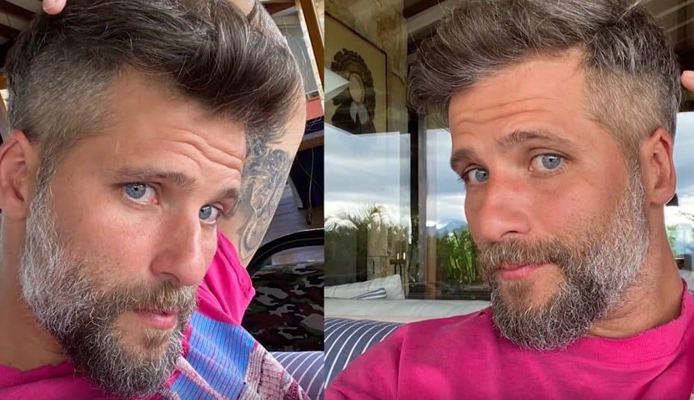 Bruno Gagliasso após ter o cabelo cortado pelo filho
