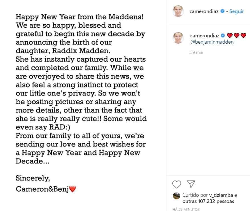 Nota que Cameron Diaz emitiu sobre nascimento da filha