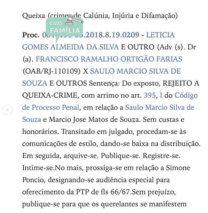 Trecho do processo que a atriz Letícia Almeida moveu contra o cantor Saulo Poncio