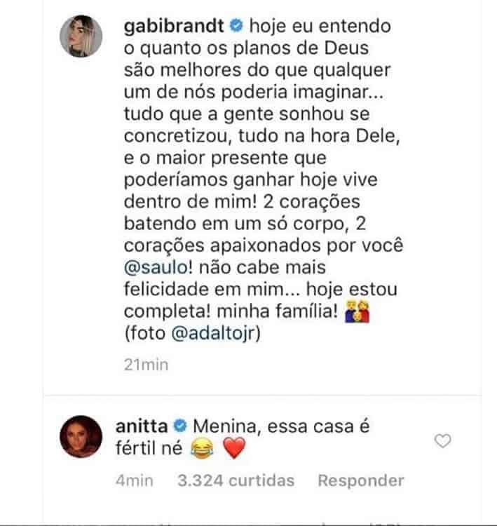 Anitta comenta postagem de Saulo Poncio