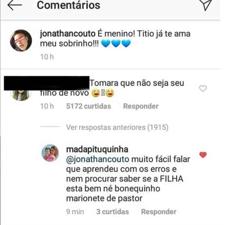 Saiba como foi a resposta de Jonathan Couto diante do comentário da internauta sobre a paternidade do filho do cantor Saulo Poncio