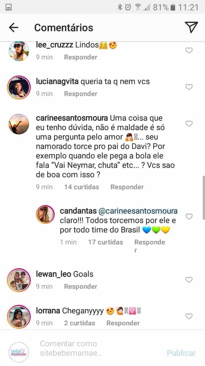 Essa foi a publicação de A resposta de Carol Dantas sobre a relação de seu namorado com o craque Neymar