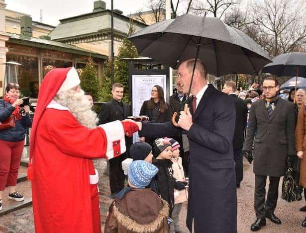 O Príncipe Willian encontrando o Papai Noel