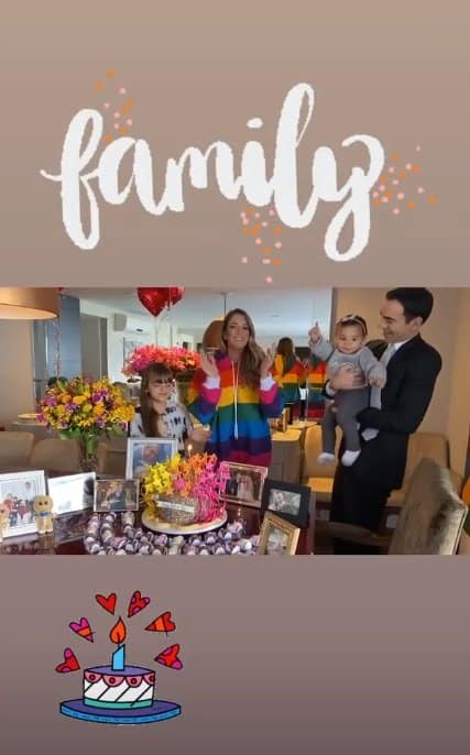 Ticiane Pinheiro no aniversário com a família