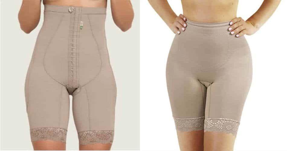 O modelo de cinta pós-parto com pernas ajuda a diminuir o inchaço