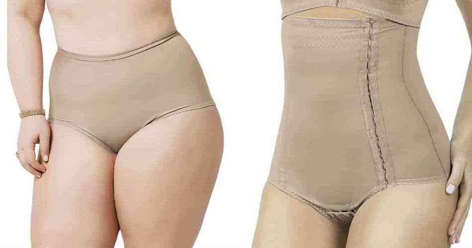 A cinta pós-parto também pode ser sem as pernas, estilo calcinha