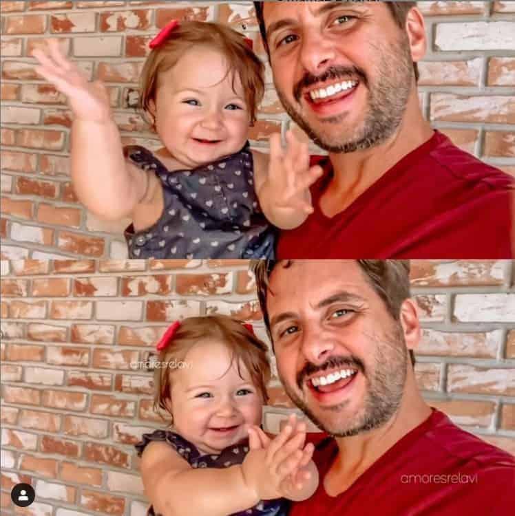 Bebê de Claudia Leitte no colo de seu pai, Márcio Pedreira