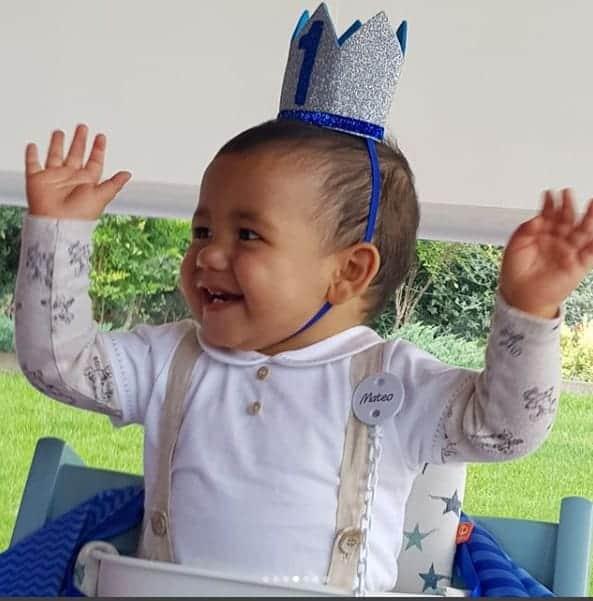 O pequeno Mateo , filho do jogador Cristiano Ronaldo, em seu aniversário de um ano