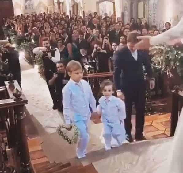 Publicação do Davi Lucca como pajem de um casamento