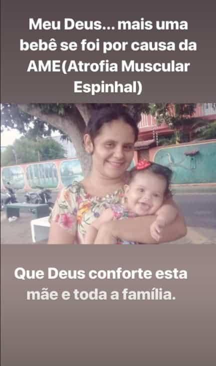 Essa foi a postagem da apresentadora Eliana sobre a mãe que perdeu seu bebê em decorrência da AME
