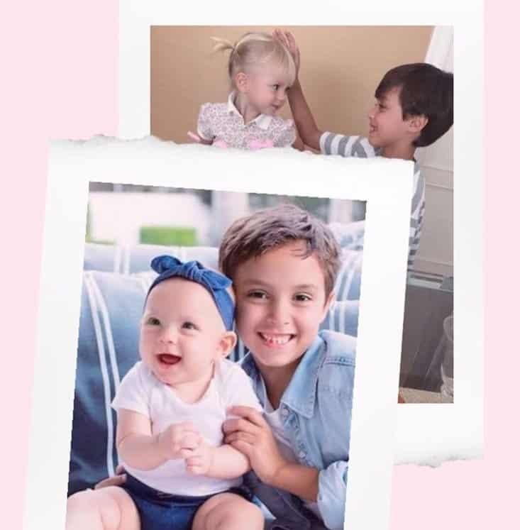 Foto antiga e foto atual feita dos filhos de Eliana