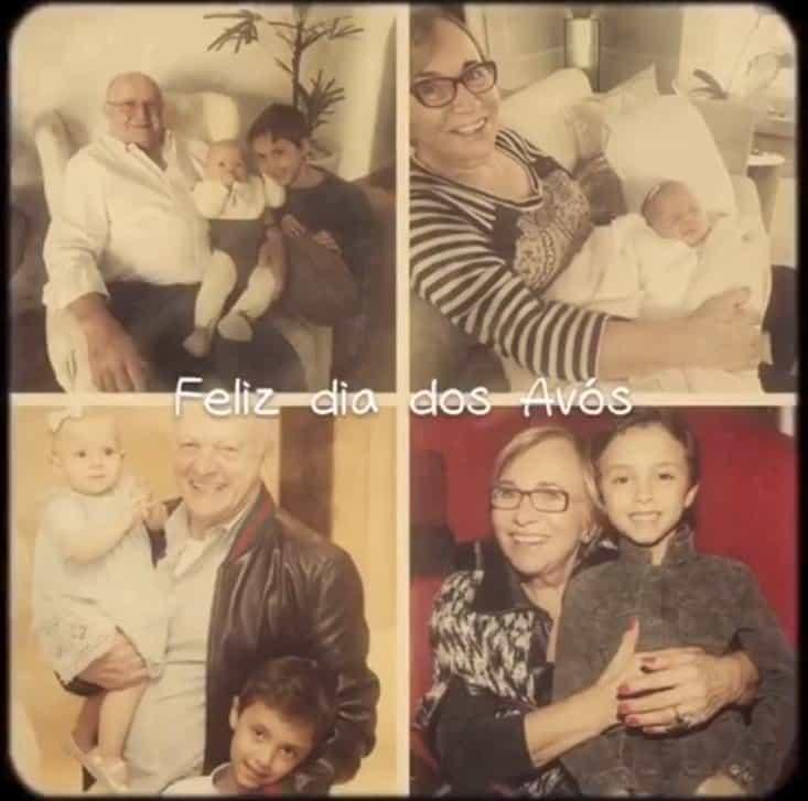 Os dois filhos de Eliana com seus avós