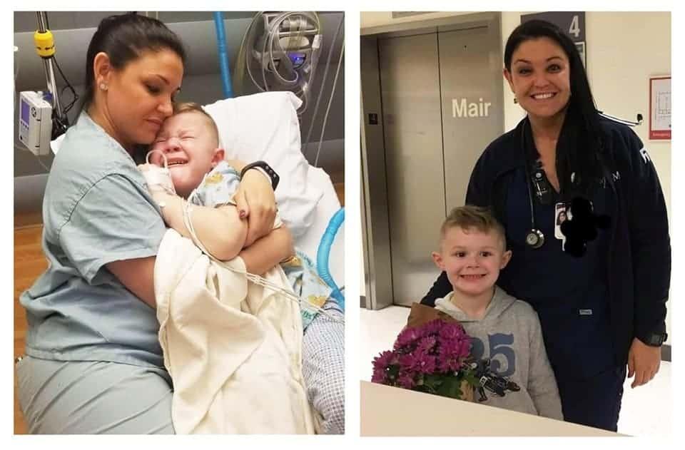 O menino sendo consolado pela enfermeir
