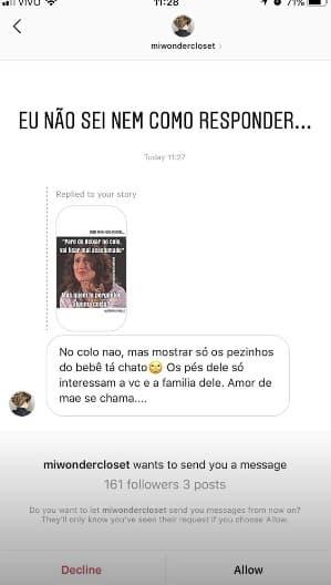 Postagem do internauta sobre o filho do musico Junior